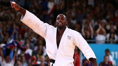 Teddy Riner of France celebrates his gold medal in the men's +100 kg Judo on Day 7 of the London 2012 Olympic Games at ExCeL.