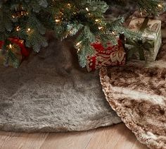 Faux Fur Tree Skirt #potterybarn. So cute to match this with the stockings