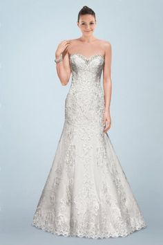 Ravishing Sweetheart Neckline A-line Bridal Gown with Lace Overlay and Crystal Beading