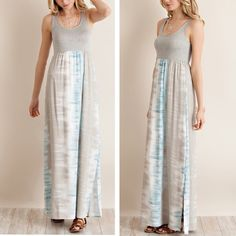 ARRIVAL Greyish blue tie dye maxi dress Show off sultry swaths of skin in this slinky maxi dress made of super soft fabric. Tie-dye patterns create slimming vertical lines while two side slits shows off your legs as you walk. Available in small, medium and large. Material: 100% rayon. Lined till knees, two side slits, light weight. Comment your size and I can make you a listing. Limited quantities only. ❗️NO TRADES❗️ Pink Peplum Boutique Dresses Maxi