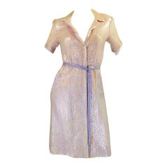 1970s Pink Sequin Iridescent Halston   From a collection of rare vintage evening dresses at http://www.1stdibs.com/fashion/clothing/evening-dresses/