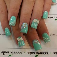 Mint nails are a sure way to stay in sync with the ongoing seasonal trends this summer. We have gathered 45 cute mint nail art ideas. Mint Nail Art, Mint Green Nails, Mint Nails, Mint Blue, Mint Color, Colour, Love Nails, How To Do Nails, Pretty Nails