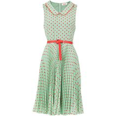 Louche Leah Spotty Dress (340 RON) ❤ liked on Polyvore featuring dresses, vestidos, green, ditsy floral dress, dot dress, green polka dot dress, louche dress and polka dot dress