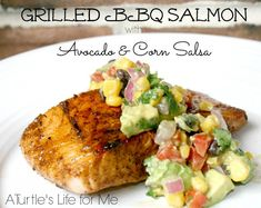 Grilled BBQ Salmon with Avocado