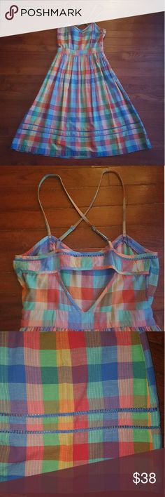 UO Cooperative Rainbow Plaid Sundress w/Cutouts Cooperative rainbow plaid sundress from Urban Outfitters. Adjustable criss-cross straps, cute back cutout, and blue trim detailing. Zips open along left side of waist. Size 2. Awesome condition! Urban Outfitters Dresses