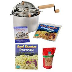 Wabash Valley Farms Whirley Pop Stovetop Popcorn Popper w Popping Kits 6Pk  Gourmet Popping Corn *** Click image to review more details. (This is an affiliate link)