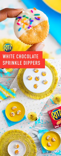 They're like cake pops, but easier! RITZ White Chocolate Sprinkle Dippers are perfect to serve for any birthday party or celebration. Kick off your next get-together with this birthday cake inspired recipe. Follow these steps: Dip half of each cracker in melted white chocolate, top with multi-colored sprinkles, refrigerate for five minutes, and celebrate!