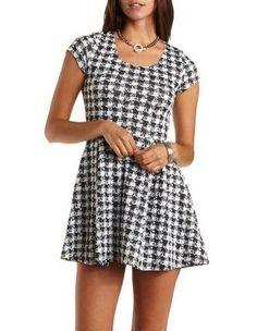 Short Sleeve Houndstooth Skater Dress - Black/White
