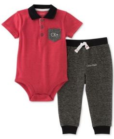 Calvin Klein 2-Pc. Polo Bodysuit & Pants Set, Baby Boys (0-24 months) - Red 3-6 months