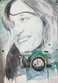 Retrato.Dibujo.Técnica mixta: grafito,carboncillo y acuarela