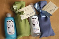 Guests received bottles of hand sanitizers, which were wrapped in green and gray pouches. A thank-you note from the couple was tied to each package