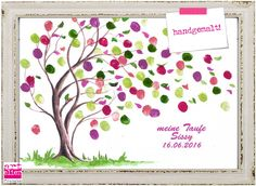 TAUFBAUM Hand Drawing watercolor Fingerprint picture Guestbook - Sharing The Most Good Designs Diy And Crafts, Crafts For Kids, Group Art Projects, Fingerprint Art, Unique Drawings, Palm Tree Print, Art Auction, Wedding Guest Book, Birthday Decorations