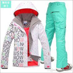 253c46a288 Gsou Snow women s ski suit set White Letter Jackets and Strap Pants Winter Ski  Clothing Set Outerwear Ski Thermal Set
