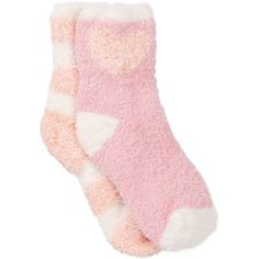 Free Press Pattern Fuzzy Socks - Pack of 2 featuring polyvore, fashion, clothing, intimates, hosiery, socks, pink peony heart, pattern socks, cushioned socks, pink socks, patterned hosiery and padded socks