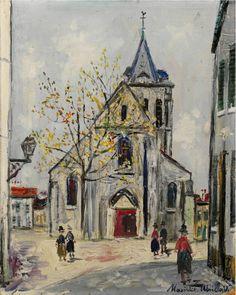 Maurice Utrillo (1883-1955) Eglise de banlieue 1945 (41,5 x 33 cm)