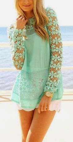Mint Crochet Lace Blouse with White Short | Summer...