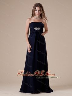 Sexy Brush Train Ruch and Beaded Decorate Prom Dress With Strapless Neckline Navy Blue Chiffon    http://www.fashionos.com  The clean, soft lines created by simple dresses never go out of style. This dress is an example of what we mean. It features a strapless bodice with ruchings throughout. A beaded embellishment in empire waist make this dress sparkling.