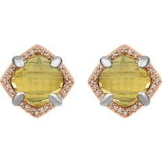Sterling Silver & Rose Gold Citrine & Diamond Halo-Style Earrings Item #651794