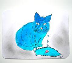 Très jolie carte postale dessinée et son enveloppe de couleur assortie Les Larmes du Chat Bleu. : Cartes par matt-et-les-petits-cadeaux