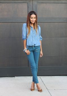 Only Sincerely Jules could pull of denim on denim quite this well.