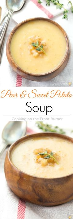 Super easy to make! Pear and Sweet Potato soup is full of flavor and would be perfect for a dinner party or your family! Grab a spoon and dig in!