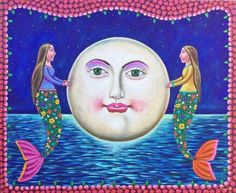 Beautiful mermaids of the moon Mexican Painting German Rubio Folk art
