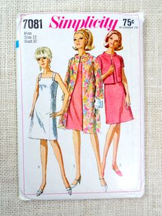 Vintage Simplicity 7081 sewing pattern by momandpopcultureshop