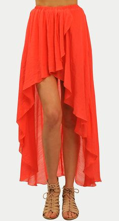 Flowy coral maxi skirt - perfect for the beach