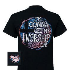 Girlie Girl Originals Worship On Cross Christian Bright T Shirt | SimplyCuteTees