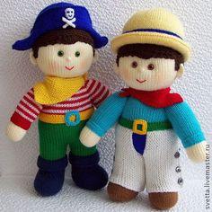 """""""Ковбой и Пират"""" большие вязаные куклы - кукла,вязаная кукла,интерьерная кукла"""