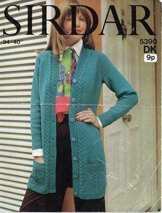 L7033  Womens Knitting Pattern Ladies Long Cardigan Womens Long Cardigan Pockets Cable 34-40 inches DK Ladies Knitting Pattern PDF instant download