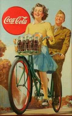 Vintage Coca-Cola 1945 Ӂ Bicycle Built for Two Coca Cola Poster, Coca Cola Ad, Always Coca Cola, World Of Coca Cola, Coca Cola Party, Coca Cola Vintage, Pub Vintage, Vintage Labels, Vintage Signs