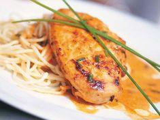 Blancs de poulet au poivron et spaghettis - Recettes
