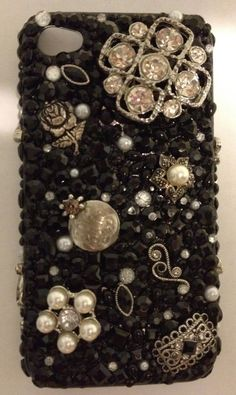 Handmade Black and Silver Bedazzled Cell Phone Case by JewelTonez, $60.00