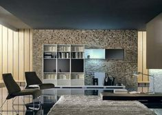 Minimalist Living Room Design with Adorable Stone Wall Decoration