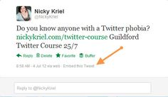 Twitter: How to embed a tweet into your blog http://www.nickykriel.com/blog/twitter/twitter-how-to-embed-a-tweet-into-your-blog/
