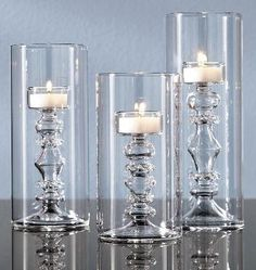 Tall Glass Tealight Candle Holders in the Shape of Candlesticks | Home Interior Design Themes