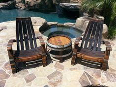 2 Wine Barrel Adirondack Chairs & Side Table Set by WineyGuys Wine Barrel Chairs, Whiskey Barrel Furniture, Wine Barrels, Rustic Chair, Rustic Furniture, Outdoor Furniture Sets, Wooden Chairs, Furniture Ideas, Garden Table And Chairs