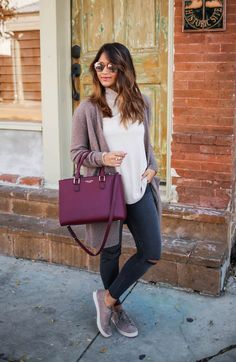 haute off the rack, grey ripped jeans, west 57th small turnlock satchel, henri bendel, women's handbag, taupe cardigan, suede taupe sneakers, hush puppies, copper flash rayban sunglasses, julie vos jewelry, baroque wrap ring, soho ring, women's fashion, jewelry, everyday style, fall style, holiday style