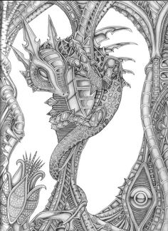 Dragon - Worker by Gaskinmoo on DeviantArt Adult Coloring Book Pages, Printable Adult Coloring Pages, Cute Coloring Pages, Animal Coloring Pages, Coloring Books, Skull Coloring Pages, Mandala Coloring, Animal Books, Dragon Art