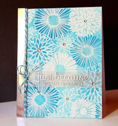 Everything Flower, hero arts, Colour is SU! Pacific Point. White and silver embossing, Amusing Michelle