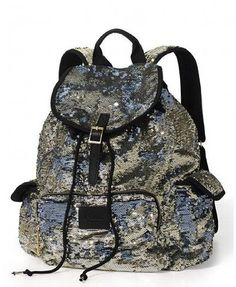 """Victorias Secret Pink Bling Silver Gold Flip Sequin Backpack by Victoria's Secret. $77.45. 12""""L x 6""""W x 17""""H. Zippered storage pocket. Buckle strap with inner drawstring. Extra pockets for storage. Adjustable straps. From the 'Pink' Collection. Backpack is covered in gold/silver flip sequins."""