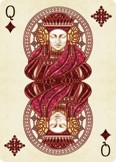 Queen of Diamonds Playing Cards Art, Custom Playing Cards, Art Design, Graphic Design, Queen Of Hearts Card, Illustration Girl, Girl Illustrations, Landscape Illustration, Heart Art