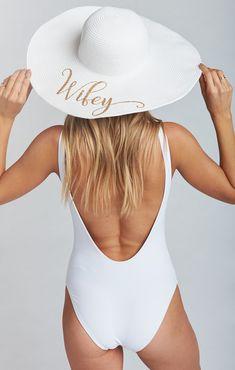 Wifey Floppy Sun Hat ~ White/Gold #Wifey #Honeymoon