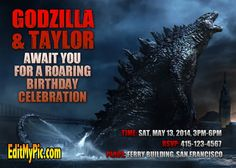 Godzilla Birthday Party Invitation - Custom Personalized Printable Invites: Celebrate a birthday or special event with a customized Godzilla birthday party invitation. Available at: http://editmypic.com/godzilla-birthday-party-invitation-custom-personalized-printable-invites.html