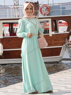 Beli Büzgülü Elbise 3014 - Mint Yeşili - Pınar Şems