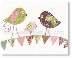 Children art baby nursery decor - nursery art -  kids decor - nursery birds - Summertime print