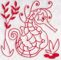 Seahorses Redwork