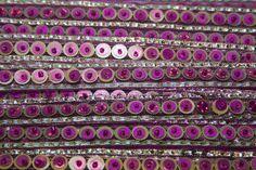 Ruban Tissé Indien Sequin Rose Doré 1,8 cm x1m : Rubans par crea-loisirs