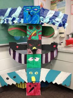 Totem Pole Craft,   http://hative.com/cool-totem-pole-craft-projects-for-kids/